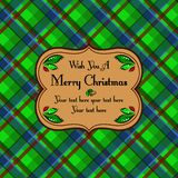 Tarjeta de modelo del tartán de la tela escocesa de la Navidad, verde Fotos de archivo libres de regalías