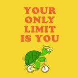 Tarjeta de motivación con una tortuga divertida Imágenes de archivo libres de regalías