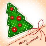Tarjeta de Navidad. árbol de navidad de costura Imágenes de archivo libres de regalías