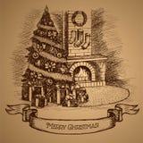 Tarjeta de Navidad Árbol de navidad y chimenea Imágenes de archivo libres de regalías
