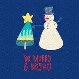 Tarjeta de Navidad Árbol del muñeco de nieve y de Navidad Impresión de la camiseta stock de ilustración