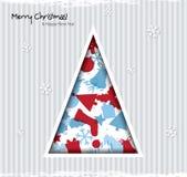 Tarjeta de Navidad abstracta con el árbol y la Navidad ic Fotografía de archivo libre de regalías