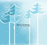 Tarjeta de Navidad abstracta con los árboles nevosos. Imágenes de archivo libres de regalías