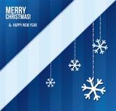 Tarjeta de Navidad abstracta con los copos de nieve en rayas Imagen de archivo libre de regalías