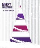 Tarjeta de Navidad abstracta con un árbol en colo púrpura Foto de archivo libre de regalías