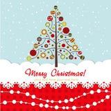 Tarjeta de Navidad adornada con el árbol de Navidad Foto de archivo libre de regalías
