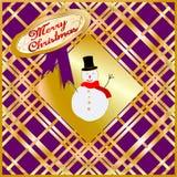 Tarjeta de Navidad adornada con el fondo multicolor de la tapicería, con el árbol abstracto blanco, y con enhorabuena de la Feliz libre illustration