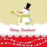 Tarjeta de Navidad adornada con el muñeco de nieve Imágenes de archivo libres de regalías