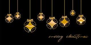 Tarjeta de Navidad adornada con la bola de plata, y con enhorabuena de oro del ` de la Feliz Navidad del `, en fondo negro Langua ilustración del vector