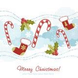 Tarjeta de Navidad adornada con la media de Navidad Imagen de archivo libre de regalías