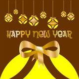Tarjeta de Navidad adornada con las bolas coloreadas y el arco de oro de la Feliz Año Nuevo, con amarillo en fondo marrón stock de ilustración
