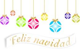Tarjeta de Navidad adornada con las bolas coloreadas y el ` de oro de la Feliz Navidad del arco y del ` escritos en lengua españo libre illustration