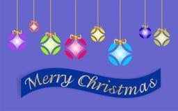 Tarjeta de Navidad adornada con las bolas coloreadas y el ` de oro de la Feliz Navidad del arco y del ` escritos en lengua ingles ilustración del vector