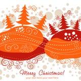 Tarjeta de Navidad adornada con los árboles de Navidad Imagen de archivo libre de regalías