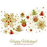 Tarjeta de Navidad adornada con los copos de nieve Imágenes de archivo libres de regalías