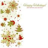 Tarjeta de Navidad adornada con los copos de nieve Imagenes de archivo