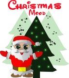 Tarjeta de Navidad agradable con el árbol de Santa Claus y de Navidad stock de ilustración