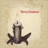 Tarjeta de Navidad artística del vector del vintage con la vela Fotografía de archivo