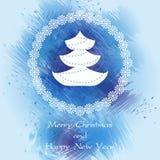 Tarjeta de Navidad azul Foto de archivo
