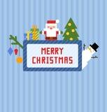 Tarjeta de Navidad azul con Santa Claus, el muñeco de nieve, el árbol de navidad y los presentes lindos Imagenes de archivo