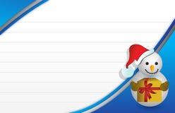 Tarjeta de Navidad azul con una ilustración del muñeco de nieve Foto de archivo libre de regalías