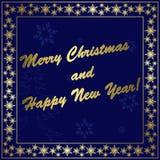 Tarjeta de Navidad azul marino con la decoración del oro Foto de archivo libre de regalías