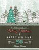 Tarjeta de Navidad beige con el ornamento decorativo, vector Fotos de archivo