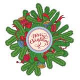Tarjeta de Navidad blanca con las ramas, las decoraciones y las letras de la picea ilustración del vector