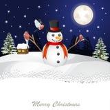 Tarjeta de Navidad brillante Muñeco de nieve alegre Imagen de archivo