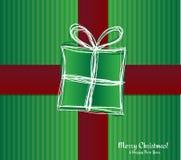 Tarjeta de Navidad - caja de regalo con la cinta. Ejemplo del vector. Imagen de archivo libre de regalías