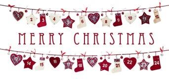 Tarjeta de Navidad - calendario del advenimiento Fotografía de archivo libre de regalías