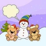 Tarjeta de Navidad colorida con pocos osos y un muñeco de nieve Foto de archivo