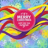 Tarjeta de Navidad colorida y ejemplo de los saludos del Año Nuevo Foto de archivo libre de regalías