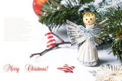 Tarjeta de Navidad con ángel Fotografía de archivo libre de regalías