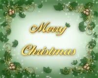 Tarjeta de Navidad con acebo Fotografía de archivo libre de regalías