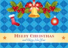 Tarjeta de Navidad con acebo y el regalo Fotografía de archivo