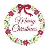 Tarjeta de Navidad con diseño del vector de la guirnalda Fotos de archivo libres de regalías