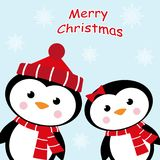 Tarjeta de Navidad con dos pingüinos stock de ilustración