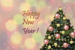 Tarjeta de Navidad con el árbol de Navidad Imagen de archivo libre de regalías