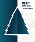 Tarjeta de Navidad con el árbol de navidad Imágenes de archivo libres de regalías