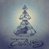 Tarjeta de Navidad con el árbol de navidad de los diamantes Imágenes de archivo libres de regalías