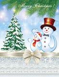 Tarjeta de Navidad con el árbol de navidad y el muñeco de nieve Fotografía de archivo