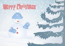 Tarjeta de Navidad con el árbol de navidad y el muñeco de nieve stock de ilustración