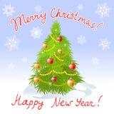 Tarjeta de Navidad con el árbol de navidad y el saludo Foto de archivo libre de regalías