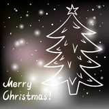 Tarjeta de Navidad con el árbol de navidad y las luces Imagen de archivo libre de regalías