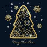 Tarjeta de Navidad con el árbol de navidad y los copos de nieve de oro del brillo libre illustration