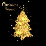 Tarjeta de Navidad con el árbol en textura del oro ilustración del vector