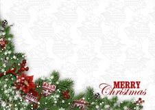 Tarjeta de Navidad con el abeto, holly&mittens Foto de archivo