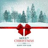 Tarjeta de Navidad con el arco de la cinta y el vector rojos del bosque ilustración del vector