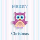 Tarjeta de Navidad con el búho Imagenes de archivo